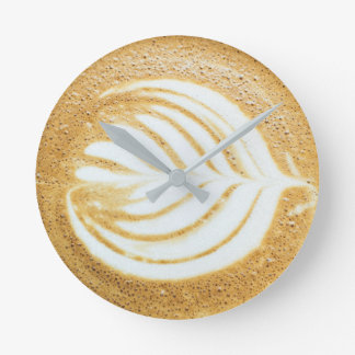 Coffee Froth Leaf Round Clock