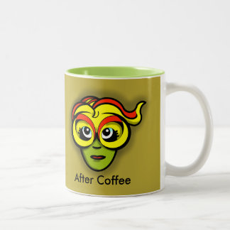 COFFEE GODDESS BEFORE & AFTER by Slipperywindow Two-Tone Coffee Mug