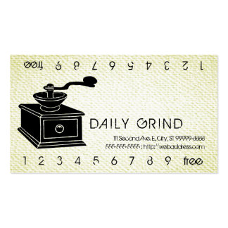 Coffee Grinder / Loyalty Punch on Textured Look Business Cards