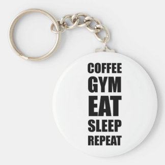 Coffee Gym Work Eat Sleep Repeat Basic Round Button Key Ring
