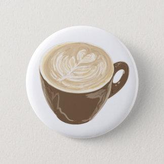 coffee heart art 6 cm round badge