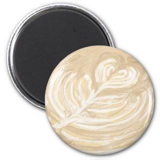 coffee heart art 6 cm round magnet
