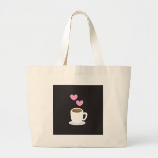 Coffee Hearts on black Bags
