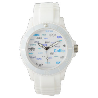 Coffee in different languages - blue wristwatch