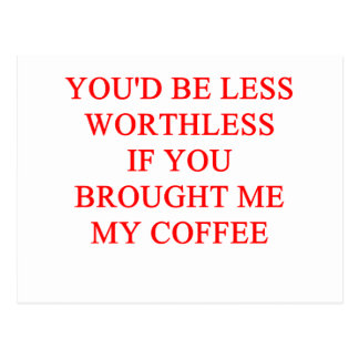 coffee joke postcard