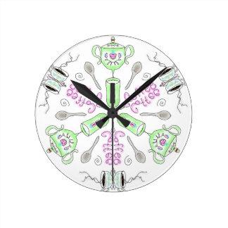 Coffee kaleidoscope round clock