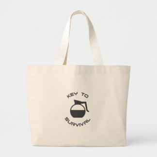 Coffee Key to Survival Large Tote Bag
