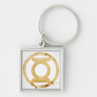 Coffee Lantern Symbol Silver-Colored Square Key Ring