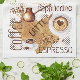 Coffee Latte Cappuccino Tea Towel