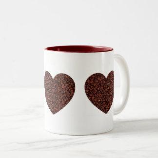 Coffee LOVE - 3 coffee hearts Two-Tone Coffee Mug