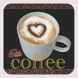 Coffee Love Heart Stickers