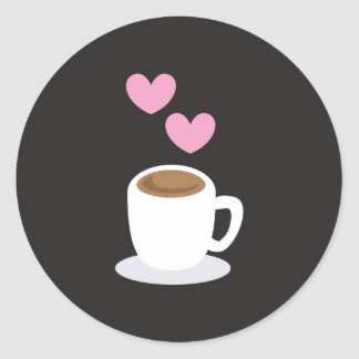 Coffee love hearts on black classic round sticker