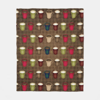Coffee Lover Coffee Cups Fleece Blanket