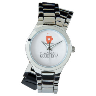 Coffee Lover Stylish Cute Warm Cup Good Day Chic Watch
