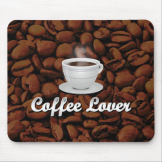 Coffee Lover, White Cup/Brown Beans Mouse Pad