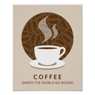 Coffee Makes the World Go Round Art Poster Print