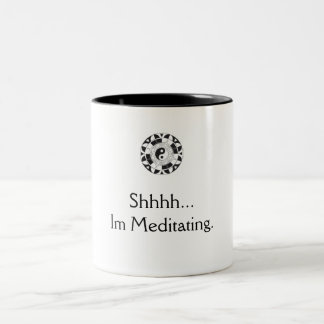 coffee meditation Two-Tone coffee mug