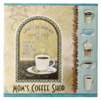 Coffee & Mom's Coffee Shop Java Latte Kitchen Art Tile