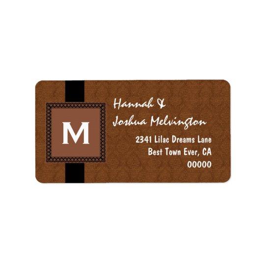 Coffee Monogram Square Frame and Ribbon M503 Address Label