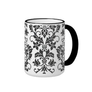 Coffee mug...black and white damask