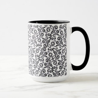 coffee mug black and white swirls