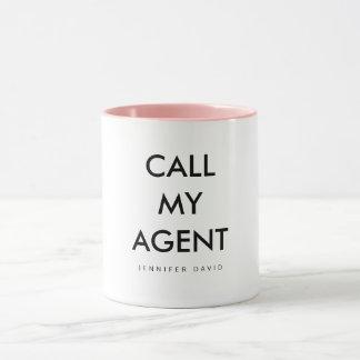 COFFEE MUG- CALL MY AGENT (WHITE AND PINK) MUG