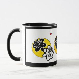 Coffee mug contemporary bright flowers