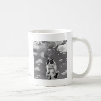 Coffee Mug: Funny cat flying with Balloons Coffee Mug