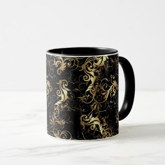 COFFEE MUG GOLDEN LEAF BAROQUE DESIGN