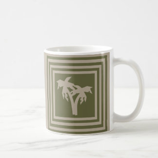 Coffee Mug Olive Green Tan Palm Tree OP1028