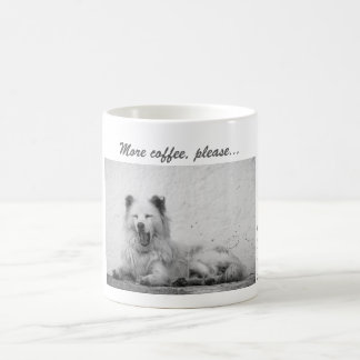 Coffee Mug - Sleepy White Dog on Santorini, Greece