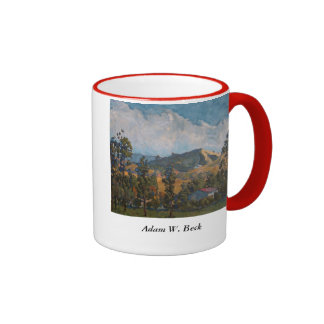 Coffee mug, two tone with landscape motif