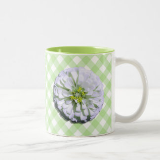 Coffee Mug - White Zinnia on Lattice