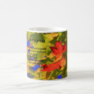 coffee mug with autumn leaves