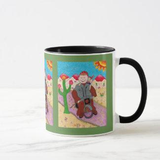 Coffee mug with biker monk