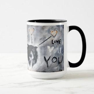 Coffee mug with border collie painting