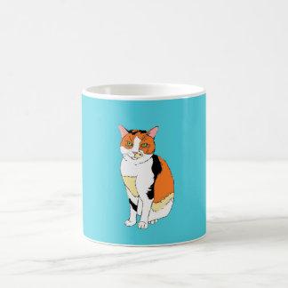 Coffee mug with fancy multicolor cat design