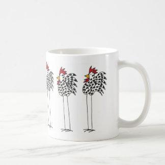 Coffee mug with fun chickens circling.