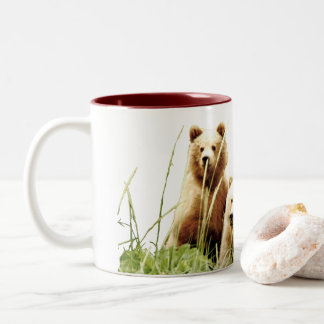 coffee mug with momma grizzly and 2 cubs