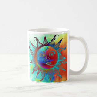 Coffee mug with multicolored sun and moon