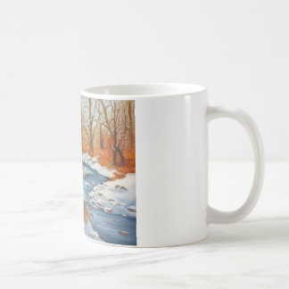 Coffee Mug with winter brook scene