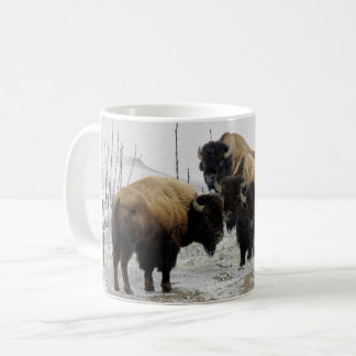 Coffee Mug with Winter Snow and Bison Herd