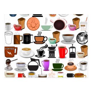 Coffee Mugs (Add Background Colour) Postcard