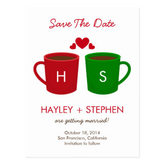 Coffee Mugs Save The Date Card Postcard
