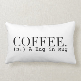 Coffee (n.) A Hug in a Mug | Chic Typography Lumbar Cushion