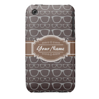 Coffee Nerd Hipster Glasses Personalized iPhone 3 Cover