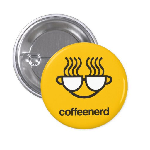 coffee nerd yellow Button pin