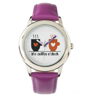 Coffee O'Clock Funny Amusing Cute Trendy Purple Watch