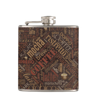 Coffee on Burlap Word Cloud Brown ID283 Hip Flask
