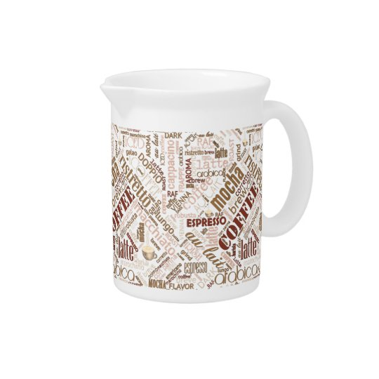 Coffee on Burlap Word Cloud Brown ID283 Pitcher